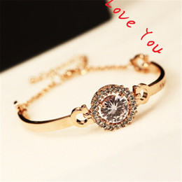 Wholesale Vintage Rose Gold Bangle Bracelet - Unique Round Cubic Zirconia Charms Bracelets Bangles for Women Korean Vintage Rose Gold Plated Link & Chain Bracelets Jewelry