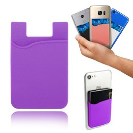 Wholesale Phone Card Case - Silicone Wallet Credit ID Card Cash Pocket Sticker Adhesive Holder Pouch Mobile Phone 3M Gadget For Cable eaphone ipad iphone Samsung