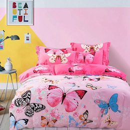 Wholesale Bedding Good Comforter Set - Pink Bedding Sets Beautiful Butterflies Printed Good Present for Girls Queen and King Size Cotton Duvet Cover Sets