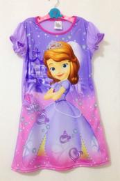 Wholesale Long Pajama Dress - Girls Kids Sofia The First Princess 4-14Y Sleepwear Nightdress Pajama Dress Tutu
