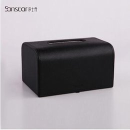 Wholesale Tissue Holders Retail - Wholesale-PU Leather Tissue Box 6 Color Vehicle Tissue Holder Office Supply Desk Set Wholesale Retail Factory Price