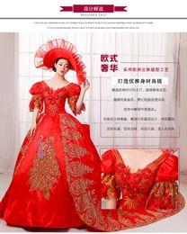 100%реальный красный трепал горный хрусталь павлин трейлинг суд бальное платье с шляпа средневековое платье Ренессанс платье Принцесса костюм Викторианской платье от Поставщики настоящий красный павлин