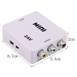 Wholesale Video Vcr - HD-184 Universal Mini HDMI to RCA Composite Video Audio AV 2AV CVBS Adapter Converter 1080P For HDTV VCR DVD VHS PS3 Xbox White New