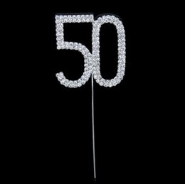 Wholesale Numeral Cake Toppers - Hot Decent Diamante Dual Numeral 50 Monogram Cake Toppers for Wedding Birthday