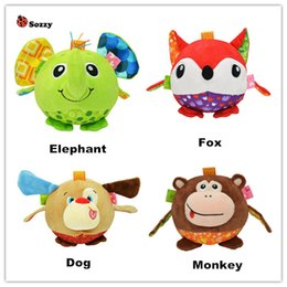 Wholesale Cartoon Baby Cot - Wholesale- sozzy Baby Toys Infant Newborn Babies Soft Hand Ball Bed Cot Crib Mobile Kawaii Stuffed Plush Stereo Animal Rattle Doll 40% off