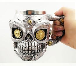 Argentina Nueva taza del cráneo de acero inoxidable de pared doble tazas de cráneo 3D taza de botella de té de café taza de bebida de tankard de cráneo del caballero Suministro