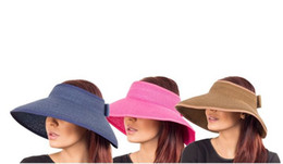 Wholesale Blue Straw Cowboy Hats - 18 Colors Summer Women's Wide-Brim Straw Visors Foldable Straw Beach Hat, 10pcs lot Free shipping