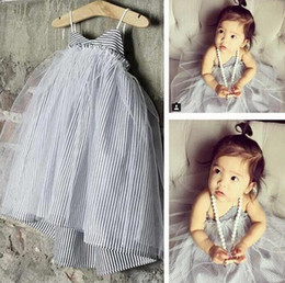 Wholesale Stripe Skirt Girls Tutu - New Summer Baby Girls Stripe Dress Kids Lace Gauze Veil Vest Dress Brace Skirt Children Cotton Sundress Sling Dress 1501