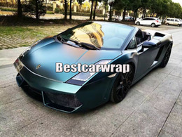 Wholesale Green Luxury Cars - peacock Green Satin Metallic vinyl Wrap For Car wrap With Air bubble Free   air Releae Luxury Truck Covers size 1.52x20m Roll 4.98x66ft
