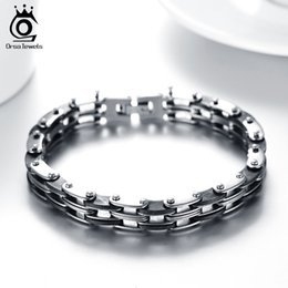 Wholesale Wholesale Trendy Bracelets - Hot Sale Top Quality Black Silicone Stainless Steel Link Chain Connected Men's Bracelet&Bangle Trendy Jewelry Wholesale GTB18