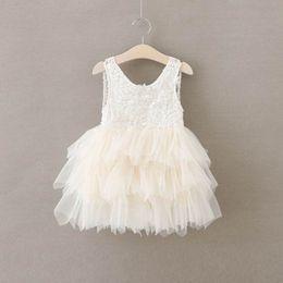 Wholesale Girls Layered Lace Dress - Girls Summer Dresses Lace Gauze Princess Vest Dress Girl Party Sundress Layered Dress Children Clothing E16900