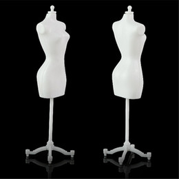 Wholesale Doll Mannequin Jewelry Holders - White Black Color Cheap TOP 5PCS Display Gown Dress Clothes Rack Barbie Doll Mannequin Model Holder Stand Fashion