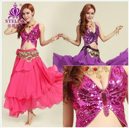 Wholesale Beaded Belly Dance Costumes - Belly Dance Costume Beaded Butterfly Clothes Suit Set Bra ( 75C 80C 85C ) Belt Skirt Beading Belly Dancing Bead Plus Size