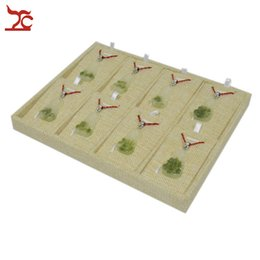 Wholesale Linen Necklace Displays - Jewelry Box Gift Box Brand New Removable Jewelry Displays for Necklaces Beige Linen 8pcs Pendant Earring Stud Holder Stand Tray 22*17*2cm