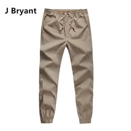 Wholesale Usa Pants Mens - Wholesale-Khaki Joggers Mens Khaki Pants Jogging Pants Men 100% Cotton men's outdoor casual long pants sport wear USA size Solid Color