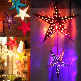 Wholesale Wholesale Ceiling Decor - Five Pointed Star Christmas Decor 3D Laser Foldable Lamp Shade With Rope Party Bar Ceiling Ornament Scene Props 11mx F R