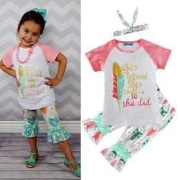 Wholesale Top Selling Baby Clothes - Ins hot selling baby autumn summer clothing sets girls jumper top+long pants+hairband 3 piece outfits girl Shining printed letter outfits
