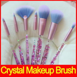 Wholesale Wholesale Crystal Cosmetic Brushes - Hot Mermaid Makeup Brush Set Quicksand Crystal Liquid Handle Cosmetics Brushes Crystal Makeup Brush Make up Tool 7pcs