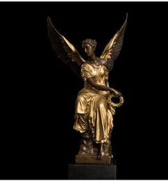 Wholesale Antique French Copper - Art Crafts Copper ATLIE BRONZES Bronze Winged Victory Lady Goddess Athena Mythology Sculpture Statue Angel Bronze Statues French Souvenir