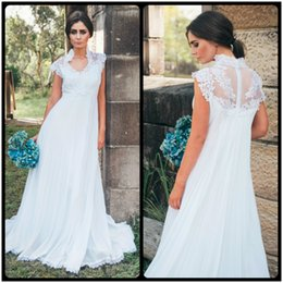 Wholesale Pleated Empire Waist Garden Bridal - Hot Selling High Neck Cap Sleeves Pregnant Bridal Gown with Train Cheap A Line Vestido Empire Waist Chiffon Lace Wedding Dress 2017
