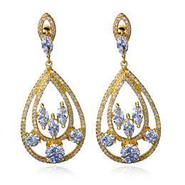 Wholesale Gold Earrings Brilliant - Beautiful Model On Every Day!! Gold plate With White Cubic Zirconia, Water Drop Shape Brilliant Earrings
