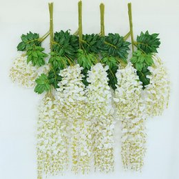 Wholesale Garden Decoration Products - 12pcs lot 110cm Artificial Flower Hanging Plant Silk Wisteria Fake Garden Hanging Plants Wedding Decoration Home Garden Products