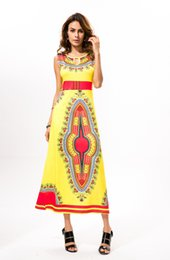 Wholesale Vintage Indian Clothing - 2017 New Bohemian Dress African Women Ethnic Traditional Clothes Print Dashiki Dress For Lady Vintage Thailand Indian Summer Dress Yellow