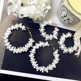 Wholesale Fashion Circle Long Earrings - Fashion new white flowers lace earrings large and small circular exaggerated earrings girls' long circle earring