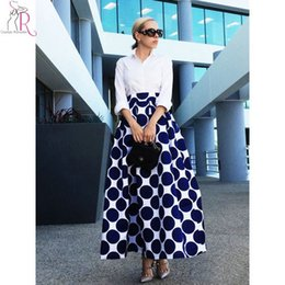 Wholesale Maxi Skirt Dotted - Wholesale Spring Autumn Navy Blue High Waist Polka Dots Print Pleated Maxi Skirt Fall Contrast Casual A Line Skater Women Clothing