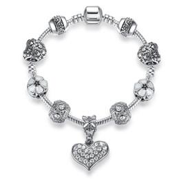 Wholesale Antique Snake Bracelet - BELAWANG Luxury Crystal Heart Charm Bracelets & Bangles 925 Antique Silver Bracelets For Women Jewelry Wholesale Price Free Shipping