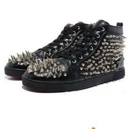 Wholesale Studs Spikes For Shoes - 2016 New Arrival Studs Spikes Red Bottoms Men High Top formal Dress Shoes Red Bottoms for men Best Quality Lace-up Sneakers Men