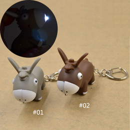 Wholesale Donkey Key Chain - Wholesale-Novelty Cute Grey Donkey Key Chain Ring with LED Light and Animal Sound
