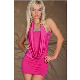 Nuevo vestido del club de las mujeres de la manera halter con lentejuelas de una pieza negro y rosa fuerte Mini vestido informal del club de las mujeres de la noche Wear M XXL más tamaño desde fabricantes