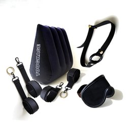 Wholesale Sex Furniture Pillows - 7Pcs Toughage Inflatable Sex Pillow Ankle Hand Cuffs Oepn Mouth Ring Gag Fetish Mask sm Bondage Set Adult Sex Furniture