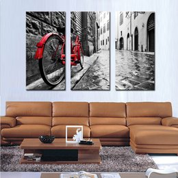 Wholesale Painting Poles - 3 Picture Combination Red Bicycle Lean Against Pole Wall Art Painting Print On Canvas The Picture For Home Modern Decoration