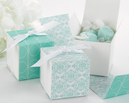 Wholesale Damask Wedding Candy Box - (100Pcs lot) Popula Wedding box Reversible Aqua Damask Wrap Boxes For Candy favor bags and Party Favor box and party decoration gift box
