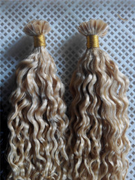 """Wholesale Curly Remy Hair Styles - New Style Hair V-tip Probonded Hair Extensions 14""""-28"""" 100g Color Blonde #613 Deep Curly Brazilian Peruvian Human V-tip Hair Extesnions"""