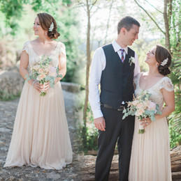Wholesale Wedding Dress Chiffon Overlay - Vintage 2016 Champagne Wedding Dresses Scoop Neck Lace Overlay Capped Sleeves A-line Plus Size Boho Chiffon Bridal Gowns for Beach Wedding