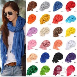 Wholesale cheap plain scarves - Free Shipping Promotion new pure linen fold super long big shawl women sexy fashion cheap multicolor punk scarf scarves wraps