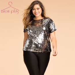 c00dbd657b0 plus size 6xl Promo Codes - Wholesale- Sequin T Shirt Women XXXL XXXXL 5XL  6XL