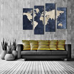 Canada 4 Pièce Toile Mur Art Marine Bleu Carte Carte Peinture Carte Du Monde Image Imprimer Sur Toile Mur Art Pour La Maison Salon Décor En Bois Encadré Cadeau supplier navy blue decor Offre