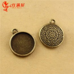 Wholesale Metal Jewelry Cabochon Blanks - 17MM Fit 14MM Zinc alloy metal pendant bezel retro Gem Handmade DIY jewelry stamping blank, round cameo cabochon setting tray