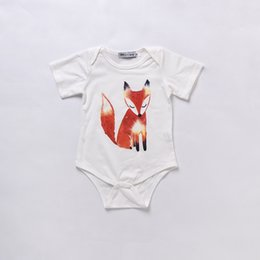 Wholesale Children Fox Costumes - Hot Sale Baby Boy Girl Clothes Toddler Mikrdoo Romper Kids Fox White Jumpsuit Infant Outfit Newborn Suit Cotton Set Child Costume Clothing