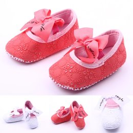 Wholesale Wholes Sales Dresses - Hot Sale Baby Dress Shoes Princess Ribbon Bow Lace-up Strap First Walker Casua Baby Girl shoes
