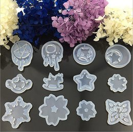 Wholesale Cake Stars - Transparent Silicone Cake Mould DIY Crystal Mould Moon Star Silicone Cake Molds Tools 12 Styles OOA2577