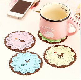 Wholesale Embroidered Placemat - Coaster Fairy tale critters carved lace coasters Soft color placemat Creative slip insulation mat Random Color Dia9.6cm 22g H-97