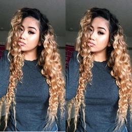 волосы волны волны китайского взрыва Скидка #1b / 27 Ombre цвет полный кружева человеческих волос парики 150 плотность вьющиеся кружева перед парики очаровательная блондинка полный кружева человеческих волос парики