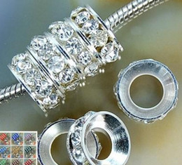 Wholesale Crystal Round Rondelle Spacer Beads - good best!white Rhinestone Crystal Rondelle Spacer Beads,Rhodium Plated Big Hole European Bead for bracelet hotsale DIY Findings Jewelry