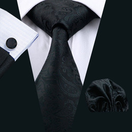 Wholesale Mens Designer Cufflinks - Classic Black Designer Paisley Necktie silk For Wedding Brand Mens Accessories Fashion Business Suit Ties For Men N-0823