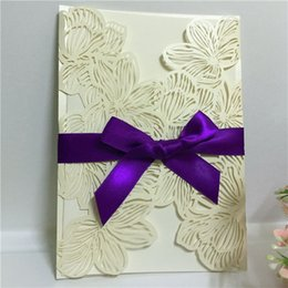 Wholesale Envelopes For Wedding Invitations - 2018 Delicate Carved Butterlies Romantic Ivory Wedding Invitation Card With Envelope, Invitations for Wedding Business Party Birthday